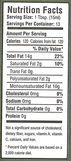Oil Nutrition Facts